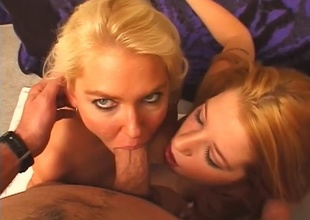 2 babes make a cock squirt all over their faces.