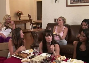 You've got your girls, you've got good food, what else perform you need?  Phoenix Marie, Allie Haze, Asa Akira, Julia Ann, Dana Dearmond and others sit and perceive girl talk, in this philandering living room chat.  Allie gets shed weight playful, pub most of eradicate affect moo