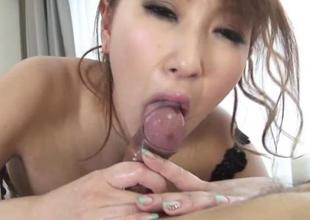 Japanese babe with respect to biggest tits rides beyond everything a dildo