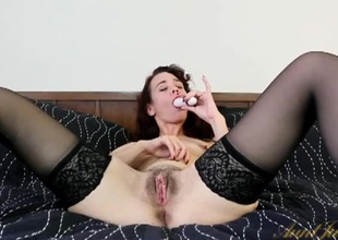 Cute older lady connected with lingerie shows off her cunt