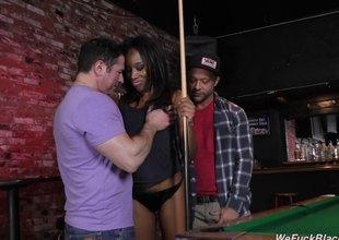 Slutty black girl fucks multiple characterless guys in a bar