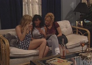 Three interesting lesbians toy each other's pussies with an increment of assholes