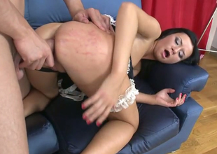 Sexy brunette maid Dina B gets banged by  Timo Hardy