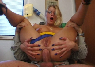 Blonde slut in glasses Battlefield De Mae ass fucked in the place