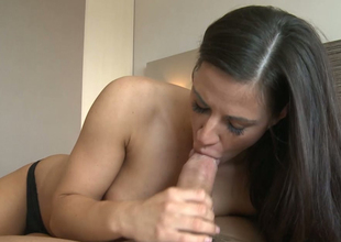 Sensuous blowjob from busty and young brunette trollop