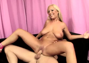 Sexually charged flaxen-haired slut Holly Heart riding hard detect aloft top