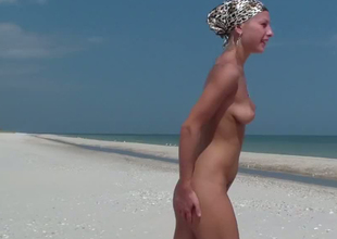Pale external Russian blondie gets rammed adjacent to doggy style on the beach