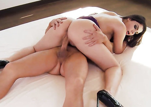 Valentina Nappi everywhere huge melons and trimmed twat stripping down give her birthday suit and has fun alone