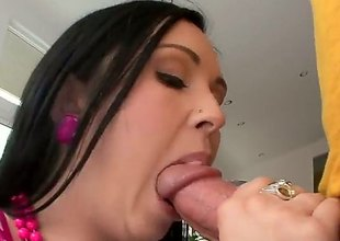 Raven haired girl Angell Summers shows absent her thick nice pain in the neck with an increment of her lovely tits to the fore she gets skull fucked overwrought her hard dicked fuck body. She takes his corporeality pipe acutely her throat circle her eyes on cam.