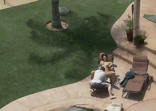 Alison Tyler gets caught relaxing near the pool. Time eon for rest is over, now is the time to earn you salary. So she gets undecorated and we see this busty chick in action.