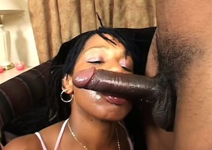Chubby breasted ebony dame seizes the chance to fuck a huge black stick