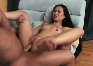 Asian slut beside full of life little bowels gets her tight holes wrecked