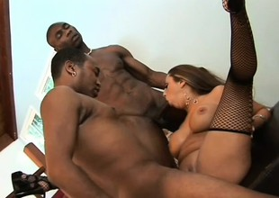 Stacked gloominess yon stockings has twosome diabolical guys fulfilling her needs