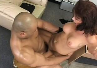 Lustful grown up lady Vanessa Videl fucks a big black cock in get under one's meeting