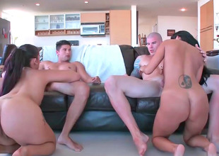 Four lovely bimbos get drilled by the lickerish studs