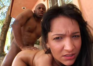 Bent over Sabrina Sweet fucked doggystyle by a big outrageous cock