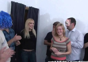 Niggardly Blond Chick Gets Extreme Hardcore GangBang