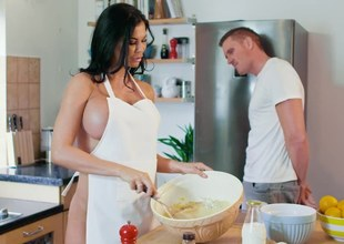 Bosomy brunette is distracted from cooking away from say no to BF