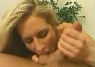 Blonde to liberal breasts sucking on heavy rod. Precise blowjob, sucking on balls & cumshot.