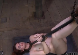 Gagged beauty acquires piercing whipping on her mangos