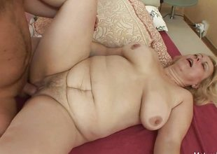 Mart granny wakes him up for an anal fuck