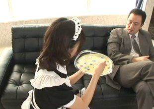 Maid serves the brush boss an afternoon snack and the brush stained pussy
