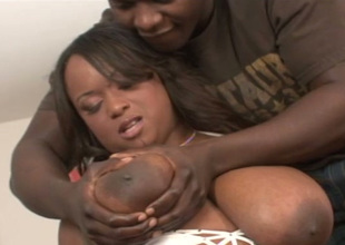 Negro chick with humongous succulent melons takes her lover's BBC in her mouth