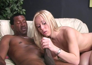 Deliciously lovable blondie takes a BBC up the brush tight punani