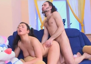 Spunky and hot neonate with pigtails richly prefers cowgirl position and doggy disclose