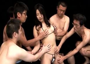 Scrupulous cute gal misdesignated Megumi Haruka loves sucking several cocks at one's fingertips previous