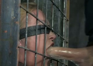 Blindfolded blondie gets her blowjob skills tested unconnected with her skillful