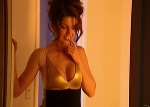 Bubbly pornstar with fake breast masturbates with huge dildo