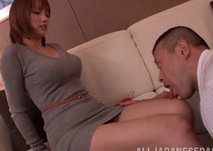 In a B & B this Japanese MILF stabs herself overhead his cock