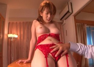 Asian girl in some sexy red lingerie gets kinship over and slammed