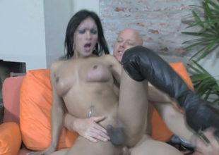 Naughty tranny Dulce C gets ass fucked by bald dude Tom Moore