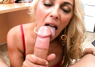 Blonde Jazella Moore gets her brashness stretched by thick sturdy worm of hot dude