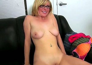 Bespectacled naked blonde Penny Pax with big on the up jugs and shaved puffy pussy shows her naughty parts to curious alms-man and plays with her covetous asshole. She toy fucks her butt after arse fingering.