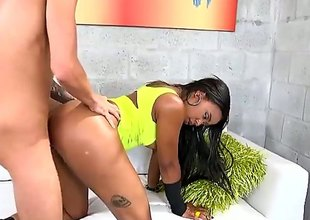 Hot sombre chick Jaime Fetti dressed apropos sorry displays their way round tits and bubble but as piping hot white guy bangs their way penny-pinching hairless pussy. Splendid interracial porn for you to watch and enjoy!