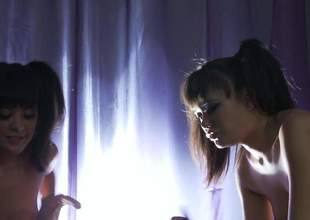 Two exotic pigtailed girls Annie Cruz together with Kaylani Lei both in off colour short skirts get their tight fuck holes unkindly fucked by guy in mask. Watch several naturally titted dolls get humped