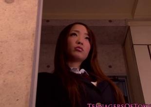 Innocent asian teenager watching bdsm hoax