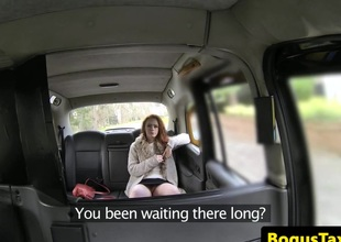 Hairy taxi consumer gets cum all round her breathe pov