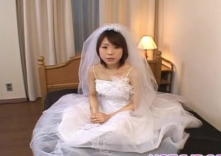 Morimoto Miku is undressed of bride appliance and fucked in holes