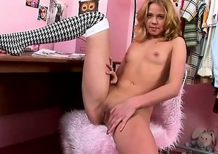 Incomparable kirmess with a sexy slim body slides a dildo here and revel in her wet fink