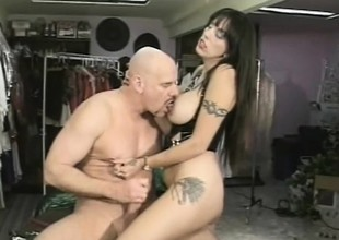 Female dominatrix Angela D Angelo gives Exclude Fontana a strap-on fuck