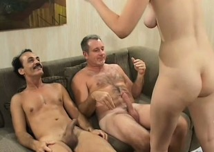 Yoke horny older studs take turns drilling the sexy college babe's tight snatch