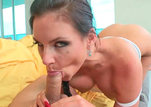 Handsome hottie Phoenix Marie sucks and rides their way man's in person stick