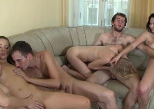 Girls and guys are performance drama in a very hot and sexy orgy gather up