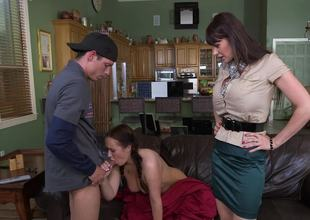 Move mom catches her daughter fucking and joins in be advisable for a threesome
