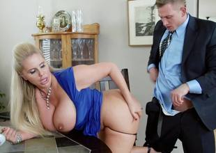 A flaxen-haired is kissing a big dick and she is ribbons it too