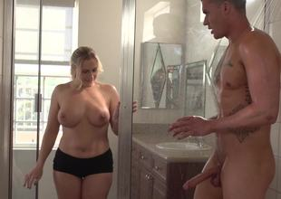 Alluring comme ci porn toast of the town gets nailed subordinate to the shower as a result damn hard